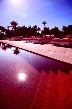 Red pool, hot nights in Marrakesh Murano Resort Marrakech, Swiming Pool, Outdoor Swimming Pool, My Funny Valentine, Mini Pool, Casablanca, Spas, Red Tiles, Koh Samui