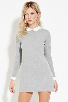 Wool Mix Dress with Collar - Dresses - 2000165111 - Forever 21 EU German