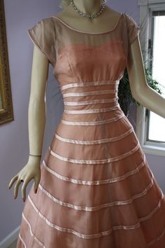 Vintage 50s Formal Dress Pink Illusion Organza Chiffon Shelf Bust Full Skirt Wedding Evening Prom Tea Party Swing Dress