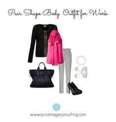 Pear Shaped Body Work Outfit. Need more advice on dressing your #PearShape body? Go to http://auraimageconsulting.com/2014/06/pear-shape-body-outfits/ #ImageConsultant #StylistToronto