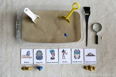 Egypt Sensory Tub Dig with Egypt Figures...This would be so cool to do, but messy!