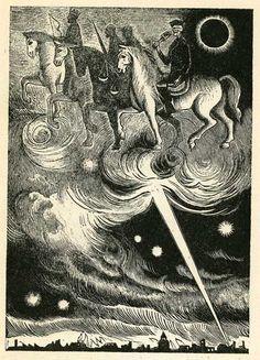 6,2-8: Die ersten 4. Siegel, die apokalyptischen Reiter (19 Holzschnitte zur Apokalypse von Karl Rössing, 1946/47)