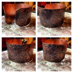 etched copper cuff with original artwork by Zona Sherman Designs