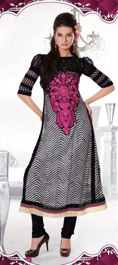 94230 Black and Grey,White and Off White color family Party Wear Salwar Kameez in Chiffon fabric with Machine Embroidery work . Off White Color, Grey And White, Designer Salwar Suits, Lakme Fashion Week, Anarkali Suits, Bridal Lehenga, Chiffon Fabric, Salwar Kameez, Indian Fashion