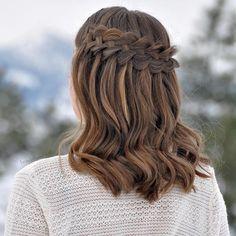 dutch waterfall braid for medium hair