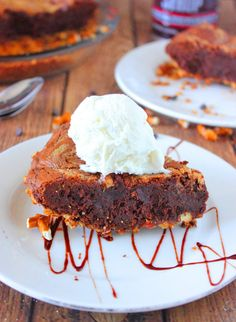 Peanut Butter Brownie Pie and COOKBOOK GIVEAWAY