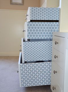 Neat Little Nest: Stenciling drawers #DIY #Organize #Home