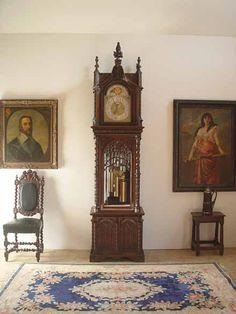 "Northwind Antiques - Victorian Detail Listings - Fine gothic grandfather clock fron Colonial Mfg. Zeeland, Mi. Excellent provenance. Original pamphlets from Colonial Mfg still intact. Fine original condition. 88"" high, 26"" wide, 19"" deep. Item # 110728"