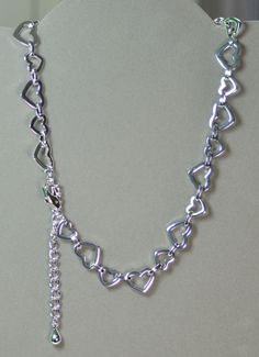 "SILVER PLATED BRASS HEART TO HEART 16"" NECKLACE W/ 2"" EXTENDER & LOBSTER CLASP #LindasCabsJewelryGemstones #Chain"
