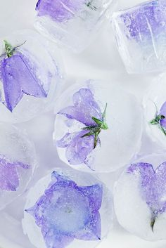 Floral Ice cubes are an easy detail with big impact. If you're planning a wedding, coordinate the flower colors with your wedding theme colors.  lotsofinspiringfood: Herbal and floral ice cubes on Call me cupcake