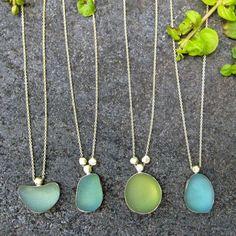 Found beach glass necklaces by Emily Amey