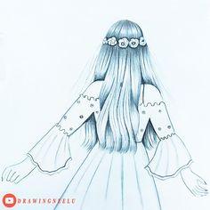 Easy Love Drawings, Pencil Drawings Of Girls, Girl Drawing Sketches, Girly Drawings, Art Drawings For Kids, Art Drawings Sketches Simple, Beautiful Sketches, Art Drawings Beautiful, Girl Drawing Pictures