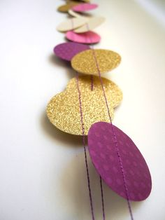 Gold Plum radiant orchid garland, Purple glitter garland, Cream circle paper ,violet baby shower decor, nursery decor, girl birthday party