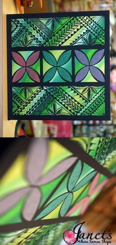 Janet's - Green Motifs DKP105, 139.00 USD (http://www.janetssamoa.com/green-motifs-dkp105/) Beautiful Coloured Sand adds a different dimension to the painting