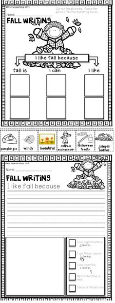 Download free printables at preview. Fall Writing. Fall Math and Literacy No Prep - Kindergarten. An excellent pack with a lot of sight word, CVC spelling, vocabulary, word work, reading, fluency and other literacy activities and practice