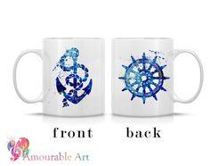 Coffee Mug, Ceramic Mug, Anchor & Wheel Mug, Unique Coffee Mug, 11oz or 15oz, Watercolor Art Print Mug, Two-Sided Print, Coffee Lover Gift, Nautical Mug, by AmourableArt on etsy