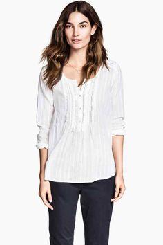 bc3121ad92 Blusa de algodón - Blanco - MUJER