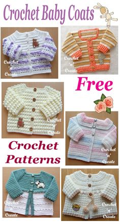 Baby Coats Crochet baby coat roundup, free baby crochet patterns, easy and quick to make.Crochet baby coat roundup, free baby crochet patterns, easy and quick to make. Crochet Baby Mittens, Crochet Baby Sweater Pattern, Crochet Baby Jacket, Baby Sweater Patterns, Crochet Headband Pattern, Crochet Coat, Baby Clothes Patterns, Crochet Bebe, Crochet Baby Clothes