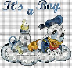 SCHEMA PAPERINO BABY PUNTO CROCE Cross Stitch Baby, Cross Stitch Charts, Cross Stitch Embroidery, Cross Stitch Patterns, Mickey Mouse Characters, Mickey Mouse And Friends, Crochet Cross, Crochet Baby, Minnie Baby