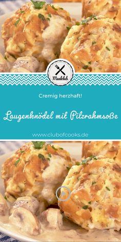 Lye dumplings with mushroom cream sauce MealClub - Laugenknödel mit Pilzrahmsoße Seafood Appetizers, Healthy Appetizers, Healthy Dinner Recipes, Healthy Snacks, Breakfast Recipes, Mushroom Cream Sauces, Mushroom Recipes, Mushroom Sauce, Baby Food Recipes