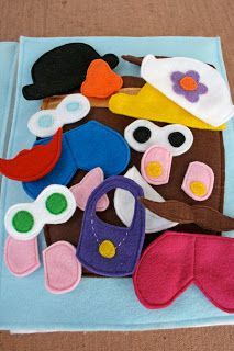 Felt Mr. Potato Head, (Pattern Template Here: http://www.oopseydaisyblog.com/2010/09/quiet-book-templates.html)