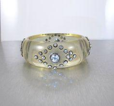 Lucite Rhinestone Bangle Bracelet Clear by TonettesTreasures