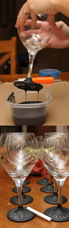 LOVE THIS IDEA!!!!  DIY :: chalkboard paint on wine glasses for a party ( http://justshortofcrazy.com/2011/09/chalkboard-wine-glasses-tutorial.html )