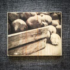 Peaches in Crates Monochrome  Wood block photo by BellowsandBulb, $32.00