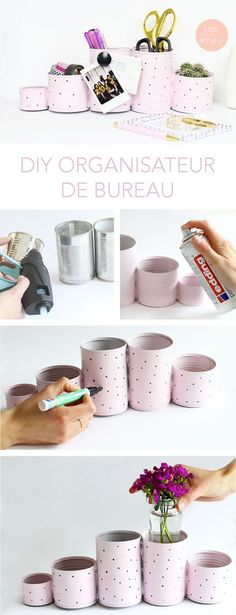 Handmade storage for your desk made with recycled can. Very Easy DIY to make at … Handmade storage for your desk made with recycled can. Very Easy DIY to make at home Recyclez vos. Recycle Cans, Diy Recycle, Diy Cans, Diy Simple, Easy Diy, Clever Diy, Diy Bureau, Pot A Crayon, Diy Organisation