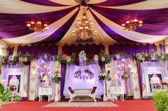 Dekorasi pelaminan modern untuk acara ngunduh mantu Timi & Nika di Purworejo, Jawa Tengah dengan nuansa ungu yang elegant