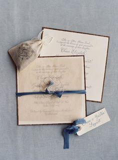 Invitation; soft French gray + slate blue
