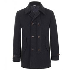 Vivienne Westwood Man Black Wool Pea Coat (3.730 RON) ❤ liked on Polyvore featuring men's fashion, men's clothing, men's outerwear and men's coats