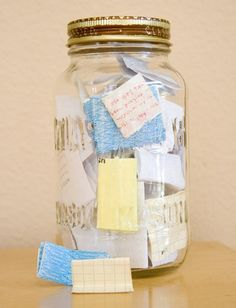 Memory Jar. Write down amazing little things that happen throughout the year and then read them together on New Year's Eve. Brilliant!