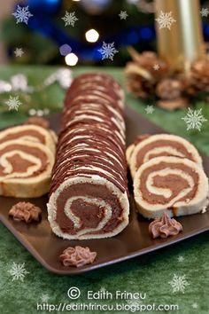RULADA CU CREMA DE CACAO- Rulada asta o face mama de cand ma stiu, si din totdeauna a fost una dintre preferatele mele. Anul asta, pentru prima data mi-am luat inima-n dinti si am f Romanian Desserts, Gingerbread Cookies, Sweet Treats, Tasty, Sweets, Christmas, Recipes, Fără Gluten, Food