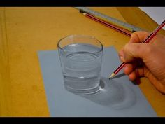 3D Illusion, Drawing a Glass of Water - YouTube