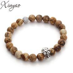 XINYAO 2017 Antique Gold/Silver Plated Skull Bracelets Natural Tiger Eye Black Agate Lava Stone Beads Bracelets for Women Men