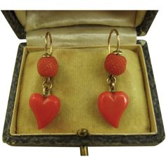 Rare Superb Victorian Coral & 9k Gold Witches Heart Earrings ~ c1890 -1900