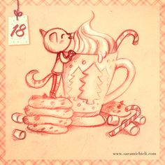sketch n. 18 for my advent calendar   http://saramichieli.com/advent-calendar/  #catmas #catoftheday #christmas #hotchocolate #candycane #marshmallow #adventcalendar #catillustration