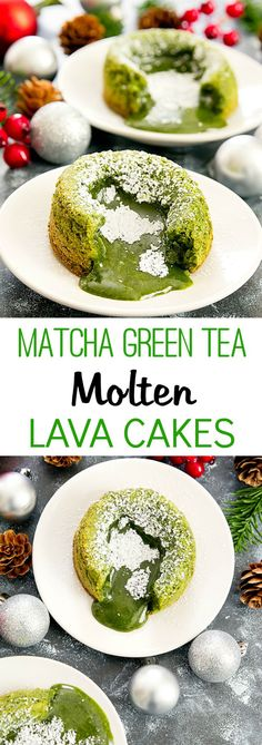 Matcha Green Tea Molten Lava Cakes. An easy, one bowl dessert perfect for a party or date night.