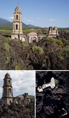 Located in the Mexican state of Michoacán, the remains of the Church of San Juan Parangaricutiro, rise from a still-warm lava field expressed by the Paricutin volcano in 1944. After suddenly erupting from a farmer's cornfield the previous year, Paricutin expelled waves of molten lava that breached the church's cemetery walls in 1944 and quickly subsumed most of San Juan Parangaricutiro's centuries-old cathedral.