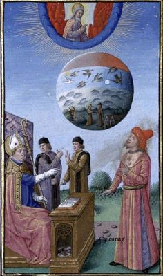 Augustin - De Civitate Dei contra Paganos (c. 1475).  Augustin explains the Creation to Epicurus.  Illumination by Maître François.