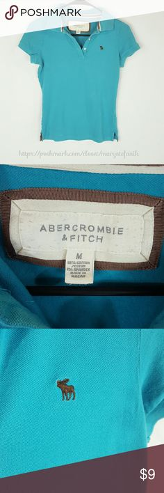 "Abercrombie & Fitch Turquoise Blue Polo size M Abercrombie & Fitch Turquoise Blue Polo size M in excellent used condition. Looks more like a S. Please check the measurements.   Waist from Seam to Seam: 14.5"" Length from Top: 21.5""  Please let me know if you have questions. Happy Poshing! Abercrombie & Fitch Tops Tees - Short Sleeve"