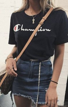 champion tee + cut off denim skirt + louis vuitton crossbody bag | urban street style #ootd urban outfitters outfit ideas