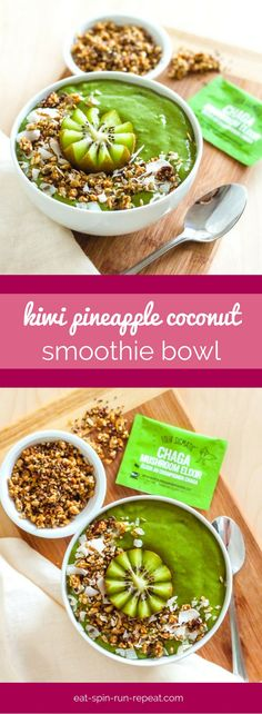 This immunity-boosting Kiwi Pineapple Coconut Smoothie Bowl is loaded with vitamin C, and it's the perfect recipe to make when you're starting to feel a little under the weather. Vegan, high in protein and gluten-free.