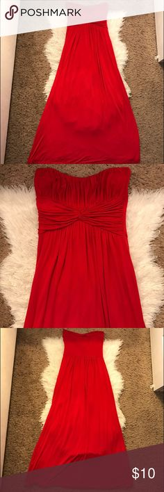 Cute Red Summer Beach Strapless Maxi Dress Small Cute red Maxi Dress   Cotton blend material Ela Dresses Maxi