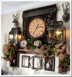 Who needs a fireplace to have a sweet mantel~ Fall touches on a mantel shelf!