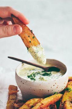 Extra crispy garlic lime sweet potato fries - gluten-free