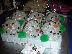 Next years crafts snowman glitter ornaments