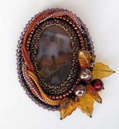 """By jenuariyab: It's a little sad and a bunch of leaves underfoot. Brooch """"Alley"""""""