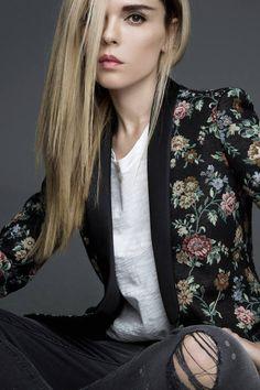 Black Multi Vintage Floral Blazer by Styleheroine